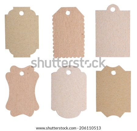 A blank tags, label cards