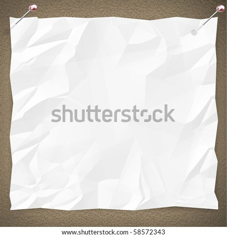 A blank white copy is pinned to a bulletin board