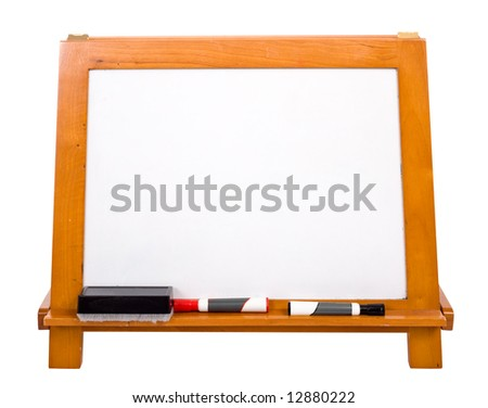 A blank white marker-board on a white background with copy space. Includes a clipping path. - stock photo