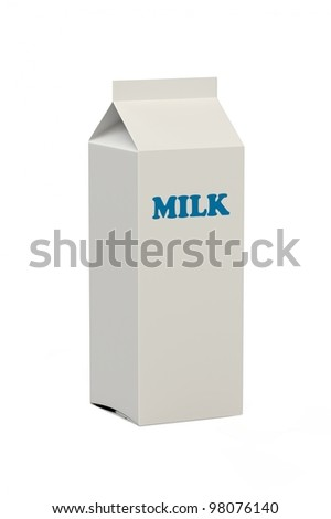 A blank white milk carton with the word Milk in blue letters isolated on a white background - stock photo