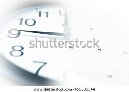 A blended image of a clock and calendar.