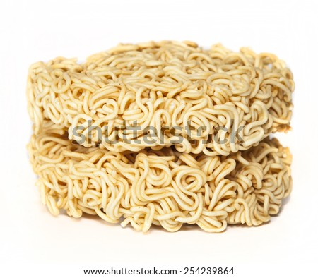 A block of dried Instant noodles isolated