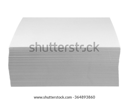 A block of white notepads, isolated on white. Clipping path included. - stock photo
