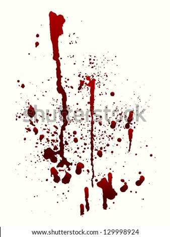 A blood spatter graphic on white. Raster. - stock photo
