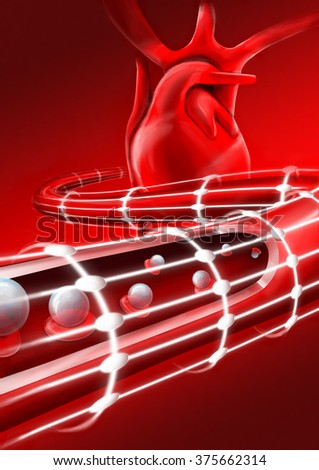 A blood vessel sliced open through its wall, the movement and flow of the red blood cells and erythrocytes carrying oxygen, the circulatory and cardiovascular systems. Blood vessel artery, vein, heart - stock photo