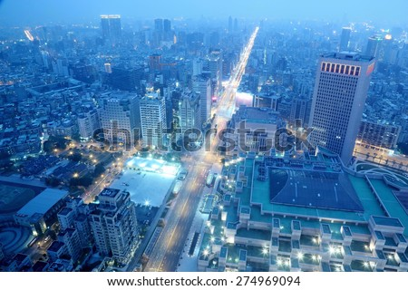 A Blue and Gloomy Night in Taipei ~ Aerial view of Taipei City in dusk  - stock photo