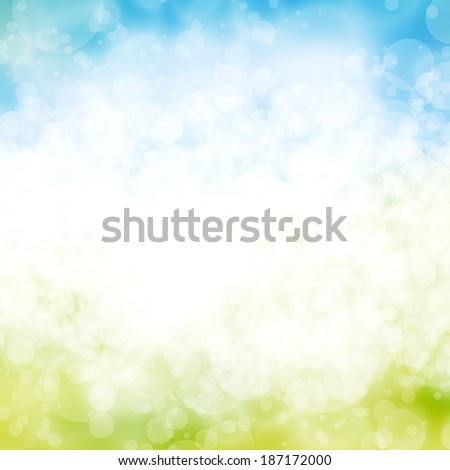 A blue and green exploding Spring fun burst background - stock photo