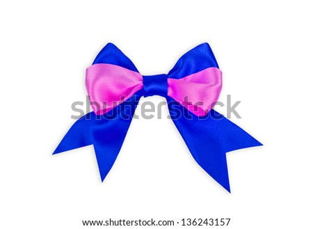 A blue and pink bow on white