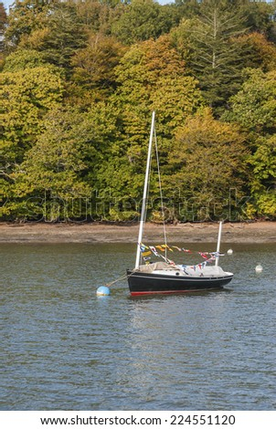 A blue and red sailing boat moored on the river with a backdrop of Autumn trees. - stock photo