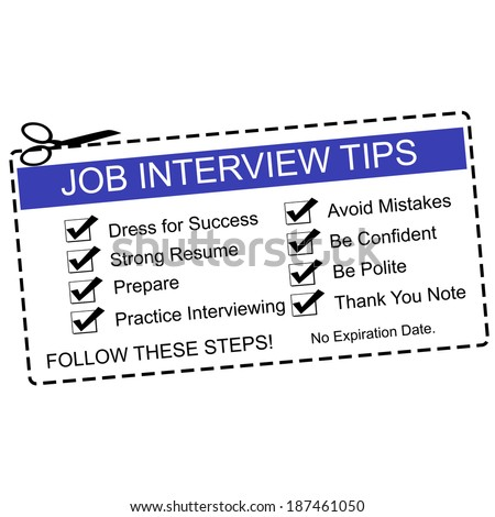 A Blue and white Job Interview Tips Coupon with great terms such as dress for success, prepare and more. - stock photo