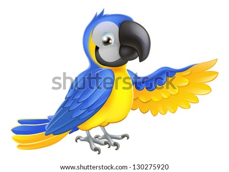 A blue and yellow macaw parrot pointing or showing something with his wing - stock photo