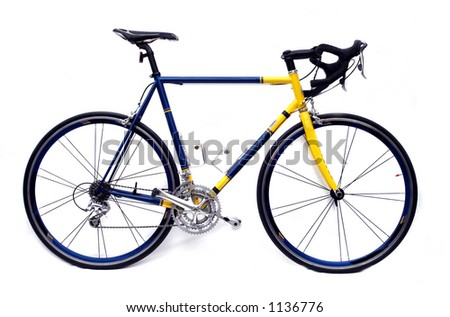 A blue and yellow road bike - stock photo