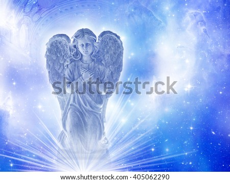 a blue angel over starry background - stock photo