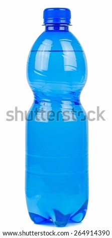 A blue bottle of mineral water on a white background - stock photo