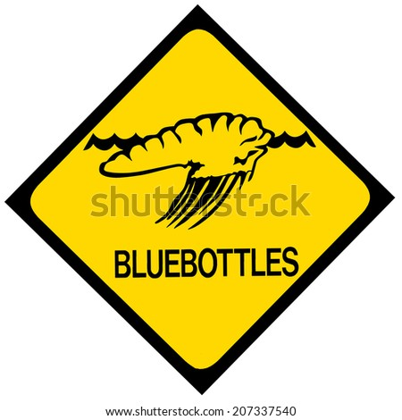 A blue bottle or Portuguese man-of-war jellyfish warning sign. Isolated on white. - stock photo