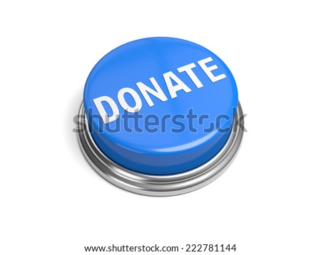 A blue button with the word donate on it - stock photo