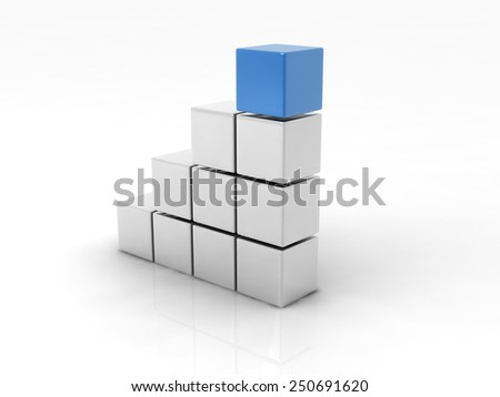 a blue cube placed observably in a group of white cubes. - stock photo