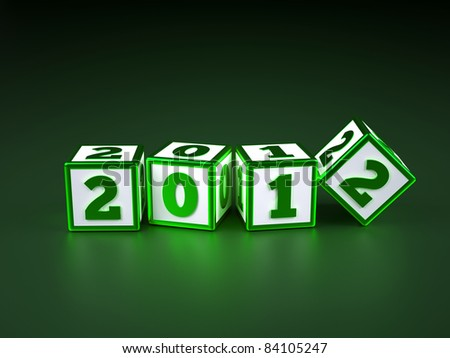 a blue cubes with digits inside in a shape 2012, new year - stock photo