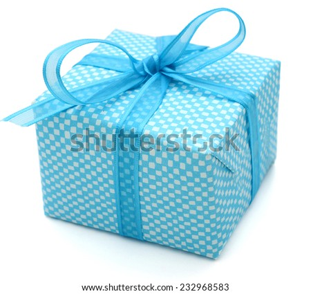 A blue gift box on white