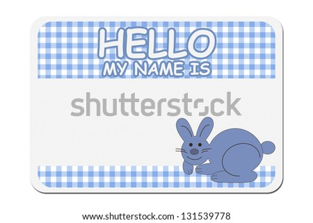 A blue gingham hello my name is tag isolated over white, Naming your baby boy - stock photo