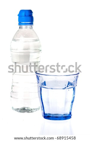 a blue glass and a bottle of water on a white background
