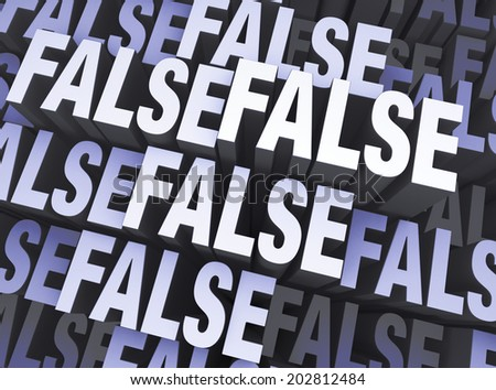 "A blue gray background filled with the word ""FALSE"" repeated many times a different depths."