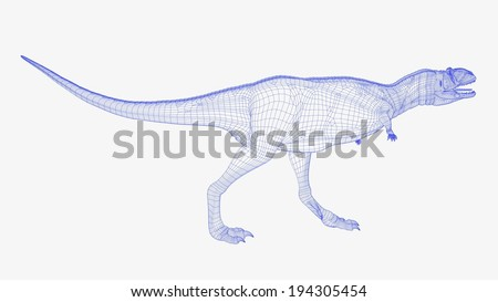 A blue grey scale model of a dinosaur. - stock photo