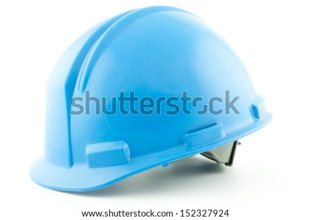 A blue industrial safety helmet isolated on a white background - stock photo