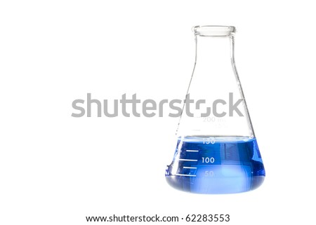 A blue liquid in an erlenmeyer flask isolated on a white background. - stock photo