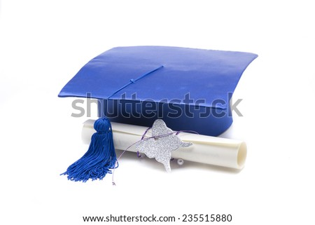 a blue mortarboard, to celebrate the graduation of a student - stock photo