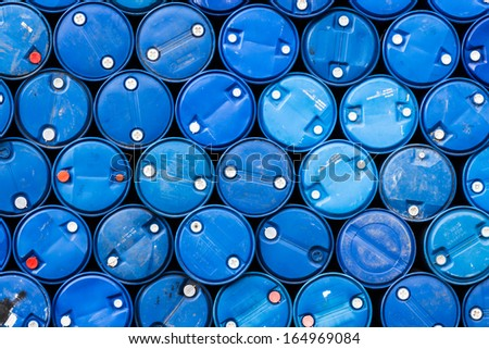 a blue oil barrels (Industrial background) - stock photo