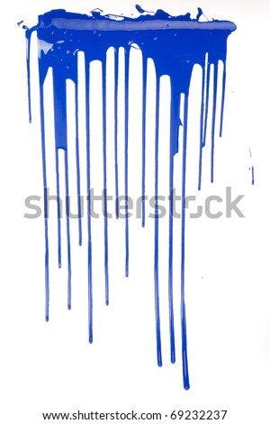 a blue paint drips on white