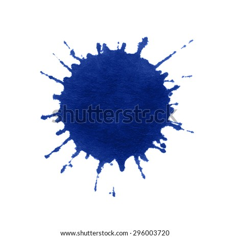 a blue paint splatter in white back - stock photo