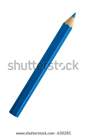 A blue pencil isolated on white
