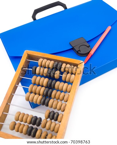 a blue plastic folder bag with a pen and an abacus - stock photo