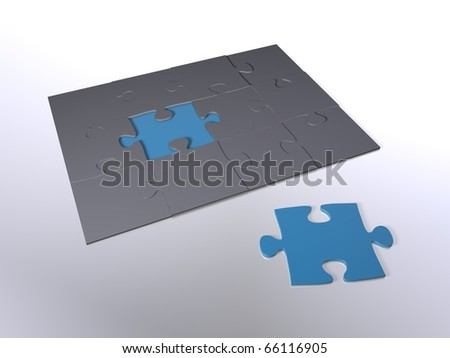 A blue puzzle piece next to grey pieces - stock photo