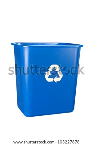 A blue, recycling bin isolated on white. For many uses regarding conservation and the environment. - stock photo
