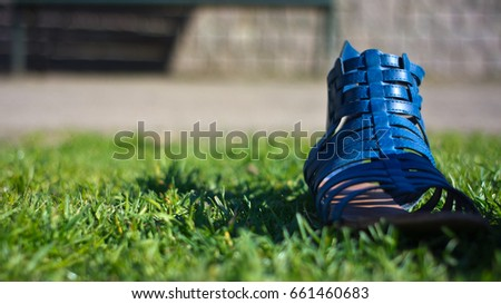 A blue sandal in the grass