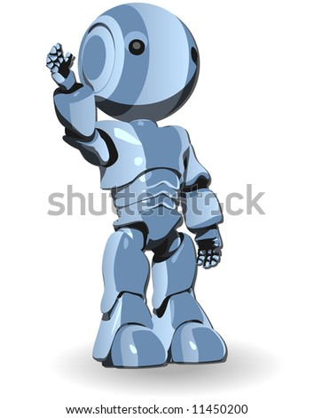 A blue shiny robot standing straight with his hand up.