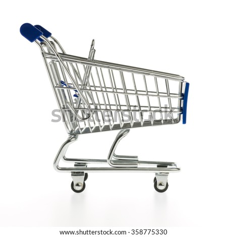 A blue shopping cart isolated on white background - stock photo