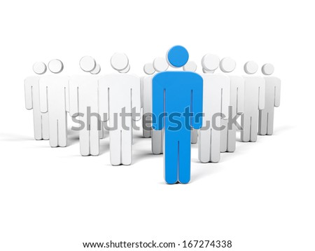 A blue silhouette of a man in front of all the other white silhouettes with white background - stock photo
