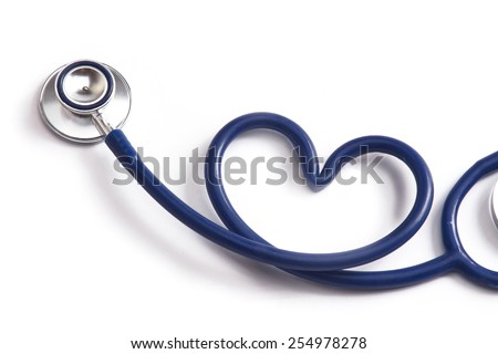 A blue statoscope in the shape of a heart on white isolated background - stock photo