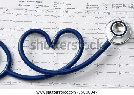 A blue stethoscope on a cardiogram - stock photo