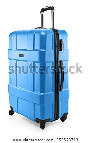 a blue suitcase isolated on a white background