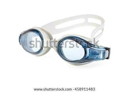 A blue swimming glasses isolated on white background