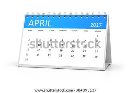 A blue table calendar for your events 2017 april