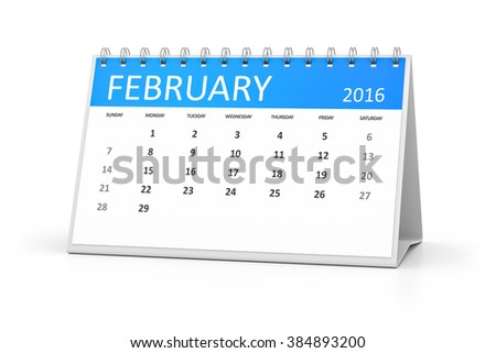 A blue table calendar for your events 2016 february