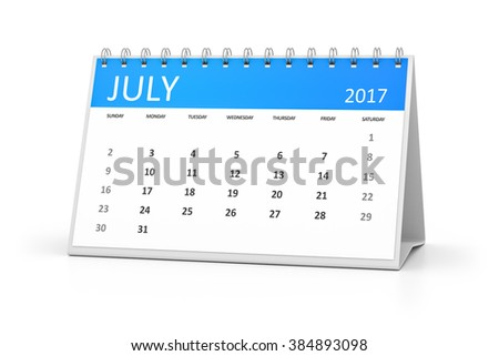 A blue table calendar for your events 2017 july