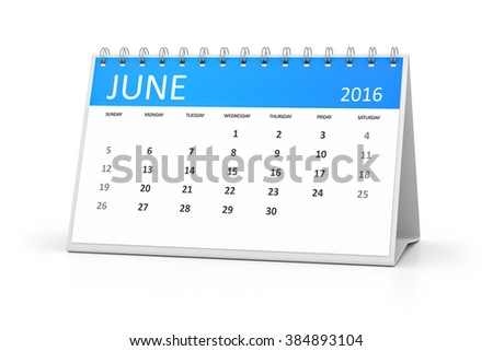 A blue table calendar for your events 2016 june