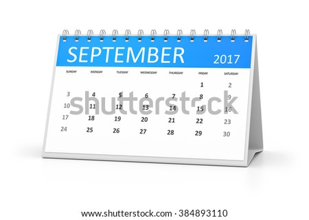 A blue table calendar for your events 2017 september